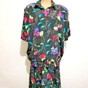 Alfred Dunner Blouse Skirt Floral 2pc Set B48 L27